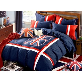 Patriotic England Flag Union Jack Printed 4-Piece Cotton Bedding Sets/Duvet Cover