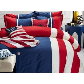 Modern Blue Red Stripes Print 4-Piece Cotton Duvet Cover Sets