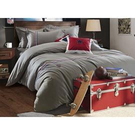 Solid Gray Color Stripe Print 4-Piece Cotton Duvet Cover Sets