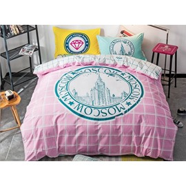City Skyline Print Pink Stripe 4-Piece Cotton Duvet Cover Sets