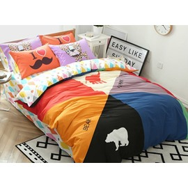 Chic Bear and Elephant Print 4-Piece Cotton Duvet Cover Sets