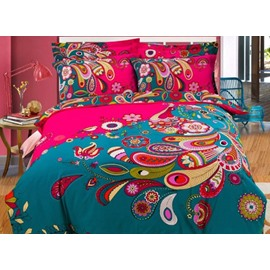 Unique Peacock Feather Printed 4-Piece Cotton Bedding Sets/Duvet Cover