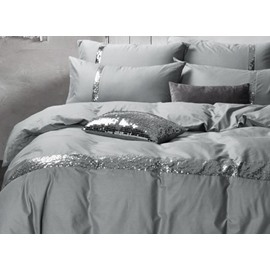 Sequin Grey Cotton 4-Piece Bedding Sets/Duvet Covers