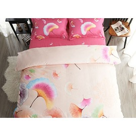 Adorable Ginkgo Leaves Print 4-Piece Cotton Duvet Cover Sets