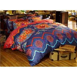 Chic Ethnic Pattern Print Staple Cotton 4-Piece Duvet Cover Sets