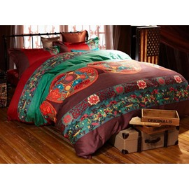 Fancy Ethnic Style Staple Cotton 4-Piece Duvet Cover Sets