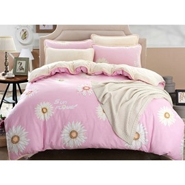 Excellent Daisy Print Pink 4-Piece Duvet Cover Sets