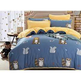 Pretty Cute Raccoon and Squirrel Print 4-Piece Duvet Cover Sets
