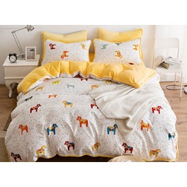 Cartoon Horse Printed Cotton 4-Piece Duvet Cover/Bedding Sets