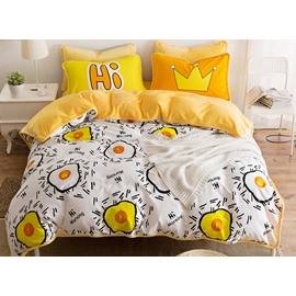 Funny Omelet Print 4-Piece Duvet Cover Sets