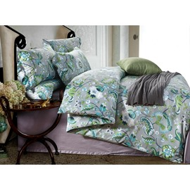 Retro Damask Print Green Long-staple Cotton 4-Piece Duvet Cover Sets