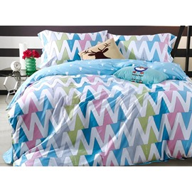 Unique Chevron Print 4-Piece Cotton Duvet Cover Sets