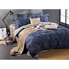 Five-petaled Flowers Print Dark Blue 4-Piece Cotton Duvet Cover Sets