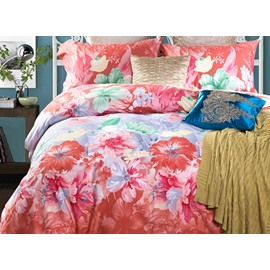 Fabulous Rosy Floral 4-Piece Cotton Duvet Cover Sets