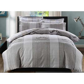 Concise Color Block Print 4-Piece Cotton Duvet Cover Sets