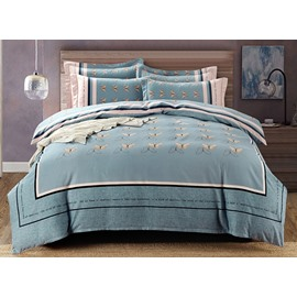 Unique Butterfly Print 4-Piece Cotton Bedding Sets/Duvet Cover