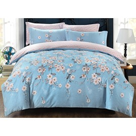 Country Blooms Print Blue 4-Piece Cotton Duvet Cover Sets