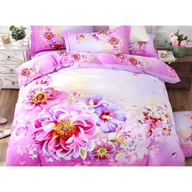 Likable Peony and Morning Glory Print 4-Piece Cotton Duvet Cover Sets