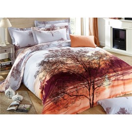 Stunning Lifelike Tree Print 4-Piece Cotton Bedding Sets/Duvet Cover