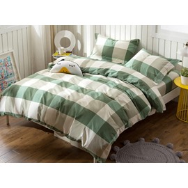 Simple but Fashionable Plaid Print 4-Piece Cotton Duvet Cover Sets