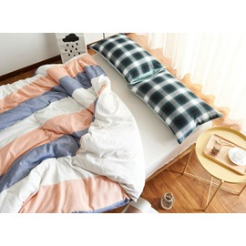 Western Style Stripe Print 4-Piece Cotton Duvet Cover Sets