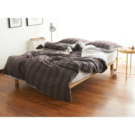 Fashion Brown Stripe Print Brushed Cotton 4-Piece Duvet Cover Sets
