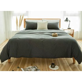 Simple Solid Grey 4-Piece Cotton Duvet Cover Sets