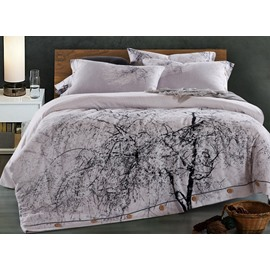 Tree with White Blooms Print Cotton 4-Piece Bedding Sets