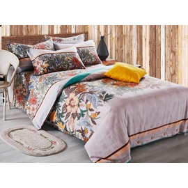 Gorgeous Pastoral Style Print 4-Piece Cotton Duvet Cover Sets