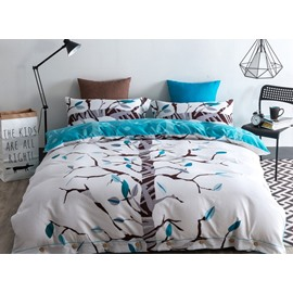 Chic Tree Branches Print 4-Piece Cotton Duvet Cover Sets