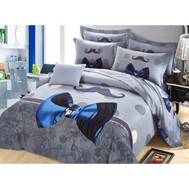 Adorable Blue Bowknot Print 4-Piece Cotton Duvet Cover Sets