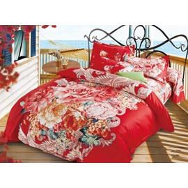 Splendid Peony Print Festive Red Cotton 4-Piece Duvet Cover Sets