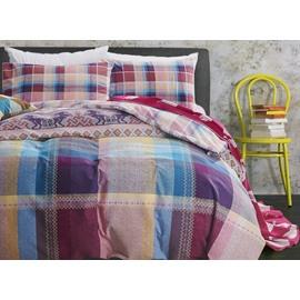 Modern Colorful Plaid Design 4-Piece Cotton Duvet Cover Sets