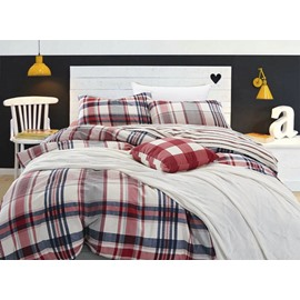 European Style Concise Plaid Print 4-Piece Cotton Duvet Cover Sets