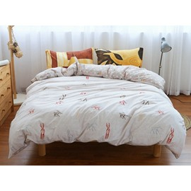 Concise Doodle Reindeer Print 4-Piece Cotton Duvet Cover Sets
