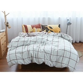 Classic Plaid Print White 4-Piece Cotton Duvet Cover Sets