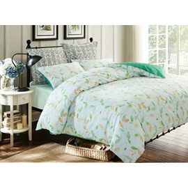 Rural Style Fresh Leaves Print 4-Piece Cotton Duvet Cover Sets