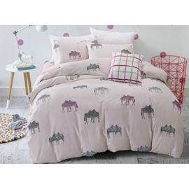 Concise Zebra Couple Print 4-Piece Cotton Duvet Cover Sets