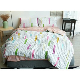 Urban Geometric Design 4-Piece Cotton Duvet Cover Sets
