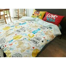 Pretty Cute Doodle Animal Print 4-Piece Cotton Duvet Cover Sets