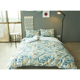 Chic Leaves Print 100% Cotton 4-Piece Duvet Cover Sets
