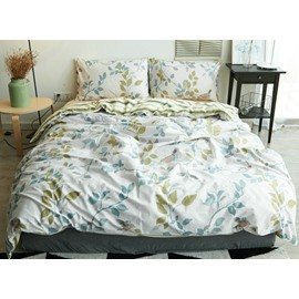 Luxurious Leaves Print Thick Cotton 4-Piece Duvet Cover Sets