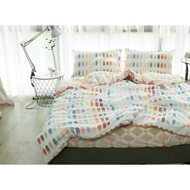 Modern Design Colorful Robot Reversible 4-Piece Cotton Duvet Cover Sets