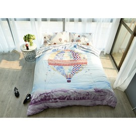 Wonderful Hot-air Balloon Print 4-Piece Cotton Duvet Cover Sets