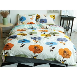 Elegant Doodle Flower Print Cotton 4-Piece Duvet Cover Sets