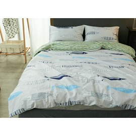 Chic Doodle Fish Print 4-Piece Cotton Duvet Cover Sets