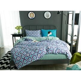 Popular Design Geometric 4-Piece Cotton Duvet Cover Sets