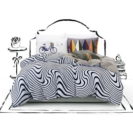 Unique Zebra Stripe Print 4-Piece Cotton Duvet Cover Sets