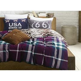 Luxury Plaid Print 100% Cotton 4-Piece Duvet Cover Sets