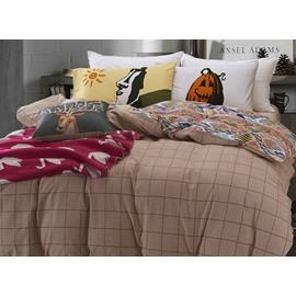 Intelligent Design Plaid Print 4-Piece Cotton Duvet Cover Sets